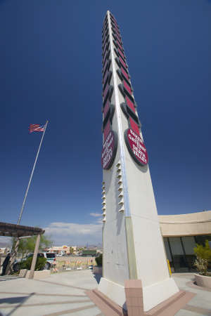 Worlds largest thermometer near Death Valley in 118 degree Baker, Ca