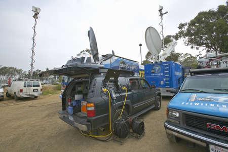 campaigning: Media vans set up in dirt parking lot, CSU- Dominguez Hills, Los  Angeles, CA Editorial