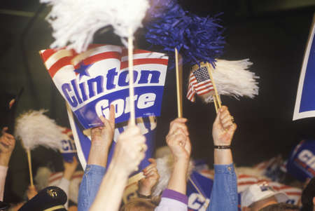 campaigning: Crowd cheers at a ClintonGore Denver campaign rally in 1992 on Bill Clintons final day of campaigning in Denver, Colorado