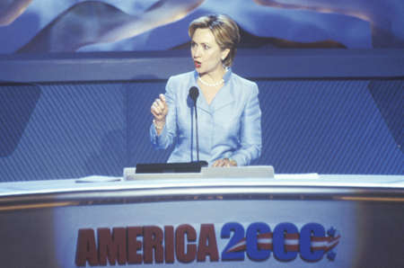 Former First Lady Hillary Rodham Clinton, the candidate for New York Senate, at the 2000 Democratic Convention at the Staples Center, Los Angeles, CA  Editorial