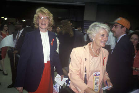 Mingling at the 1992 Democratic National Convention at Madison Square Garden, New York
