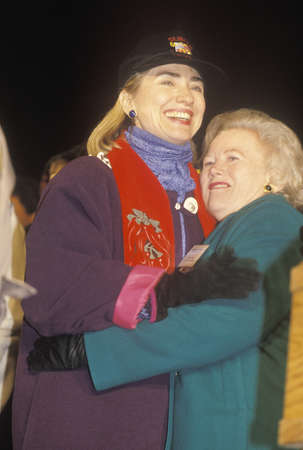 campaigning: Hillary Rodham Clinton at a New Mexico campaign rally in 1992 on Bill Clintons final day of campaigning in Albuquerque, New Mexico