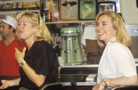 campaigning: Hillary Rodham Clinton meets towns people at Dees Restaurant during the ClintonGore 1992 Buscapade campaign tour in Corsicana, Texas