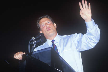 Senator Al Gore addresses the crowd at Tyler Junior College on the Clinton/Gore 1992 Buscapade campaign tour in Tyler, Texas