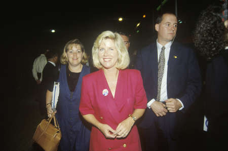 Tipper Gore on the ClintonGore Buscapade tour on one of its Great Lakes Tour Freeway Stops, 1992