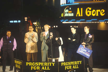 ed: Presidential rally for GoreLieberman on October 31st of 2000 in Westwood Village, Los Angeles, California Editorial