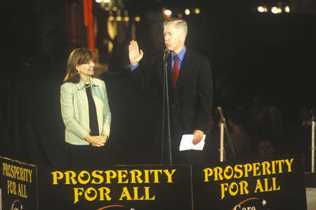 Former CA Governor Gray Davis at a Presidential rally for Gore/Lieberman on October 31st of 2000 in Westwood Village, Los Angeles, California