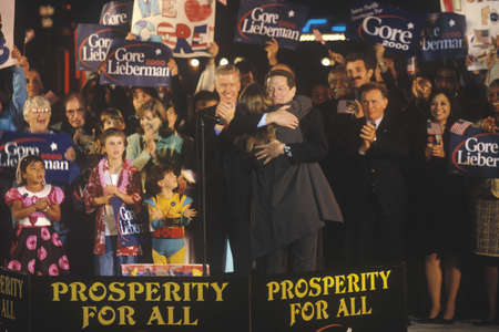 Vice President Al Gore at a Presidential rally for Gore/Lieberman on October 31st of 2000 in Westwood Village, Los Angeles, California