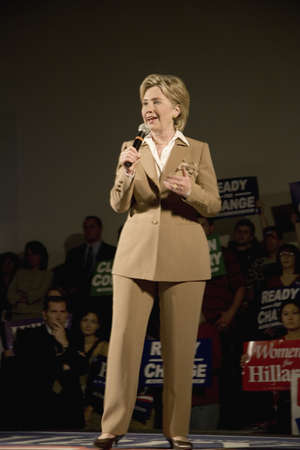ia: U.S. Senator, Former First Lady and Presidential Candidate, Hillary Clinton, speaking at rally after Iowa Democratic Presidential Debate, Drake University, Des Moines, Iowa, August 19, 2007