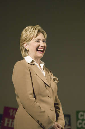 presidential: U.S. Senator, Former First Lady and Presidential Candidate, Hillary Clinton, smiling during rally following Iowa Democratic Presidential Debate, Drake University, Des Moines, Iowa, August 19, 2007 Editorial