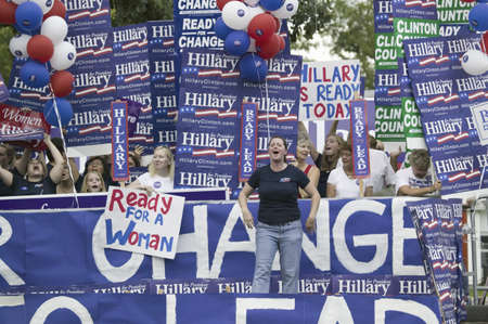 primaries: Hillary Clinton for President supporters with signs at Drake University, August 19, 2007, as part of the Presidential Debate and Primaries, Des Moines, Iowa