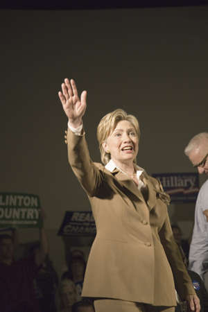 presidential: U.S. Senator, Former First Lady and Presidential Candidate, Hillary Clinton, waving to crowd at rally following Iowa Democratic Presidential Debate, Drake University, Des Moines, Iowa, August 19, 2007
