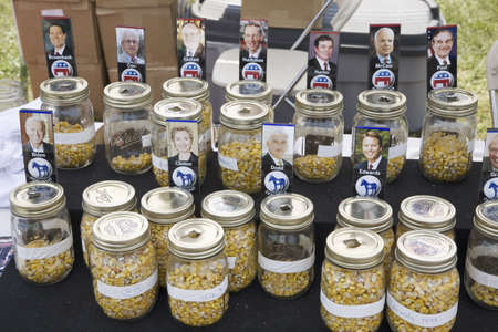primaries: Jars of corn representing straw vote for both parties of Iowa Primaries for 2007 Presidential Campaign, Iowa State Fair, August, 2007, Des Moines, Iowa Editorial
