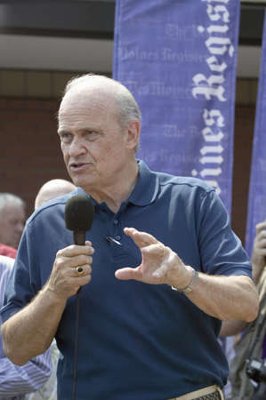 campaigning: Former U.S. Senator and actor of Law & Order, Fred Thompson speaking to crowd at Iowa State Fair during his campaign for U.S. President, August 17, 2007, Des Moines, Iowa Editorial
