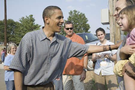 Le sénateur américain Barak Obama campagne pour le président à l'Iowa State Fair à Des Moines Iowa, 16 Août 2007 Banque d'images - 20802785