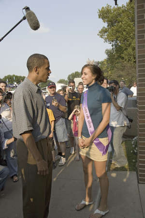 campaigning: U.S. Senator Barak Obama meeting Miss Iowa State Fair while campaigning for President at Iowa State Fair in Des Moines Iowa, August 16, 2007
