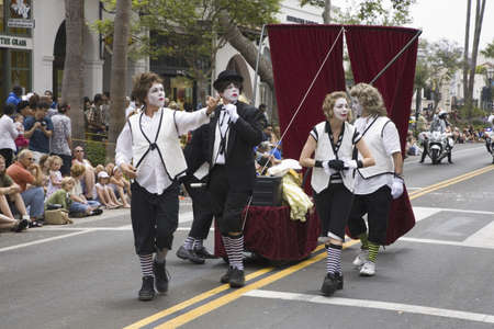 Pantomime performers at annual Summer Solstice Celebration and Parade June 2007, since 1974, Santa Barbara, California