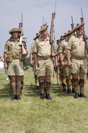 World War II reenactment of troops at attention of Great Britain at Mid-Atlantic Air Museum World War II Weekend and Reenactment in Reading, PA held June 18, 2008 Editorial