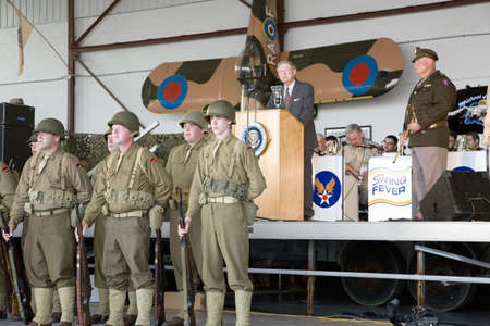 Actor portraying President Franklin D. Roosevelt (FDR) delivers 1941 Day of Infamy speech about 1941 Pearl Harbor attack at Mid-Atlantic Air Museum World War II Weekend and Reenactment in Reading, PA held June 18, 2008