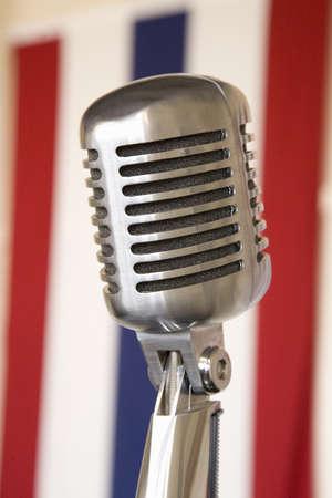 1940s vintage radio microphone ad 48 star American flag at Mid-Atlantic Air Museum World War II Weekend and Reenactment in Reading, PA held June 18, 2008