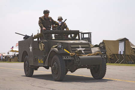 patton: Actor of General George Smith Patton, Jr. stands up in jeep during reenactment parade of World War II in Reading, Pennsylvania, June 18, 2008