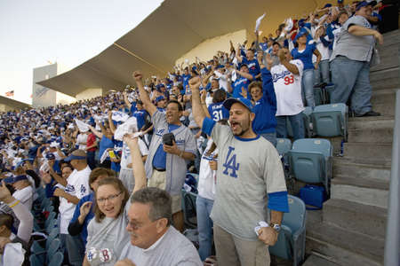 grandstand: Dodger fans cheering during National League Championship Series (NLCS), Dodger Stadium, Los Angeles, CA on October 12, 2008 Editorial