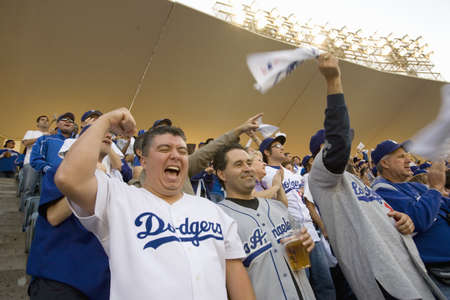 outfield: Dodger fans cheering during National League Championship Series (NLCS), Dodger Stadium, Los Angeles, CA on October 12, 2008 Editorial