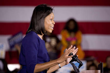 obama: Michelle Obama speaking in front of African American audience during Barack Obama Presidential Rally, October 29, 2008 in Rocky Mount High School, North Carolina