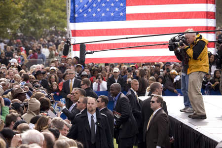 senator: Media covers US Senator Barack Obama as he shakes hands at early vote for change Presidential rally, October 29, 2008 at Halifax Mall, Government Complex in Raleigh, NC