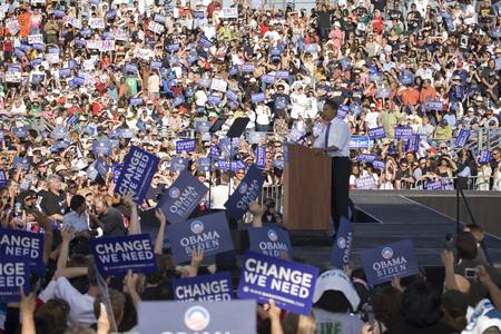 bonanza: US Senator Barack Obama speaking from podium at Early Vote for Change Presidential rally, October 25, 2008 at Bonanza High School, Judy K. Cameron Stadium in Las Vegas, NV