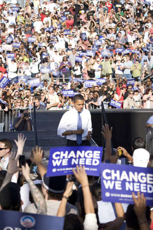 bonanza: US Senator Barack Obama leaving stage at Early Vote for Change Presidential rally, October 25, 2008 at Bonanza High School, Judy K. Cameron Stadium in Las Vegas, NV Editorial