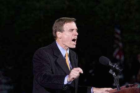 electoral: US Senator Mark Warner speaking at Barack Obama Presidential Rally at Verizon Wireless Virginia Beach Amphitheater in Virginia Beach, VA, October 30, 2008