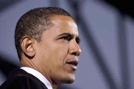 US Senator Barack Obama speaking at Change We Need Presidential rally, October 30, 2008 at Verizon Wireless Virginia Beach Amphitheater in Virginia Beach, VA Zdjęcie Seryjne - 20803724