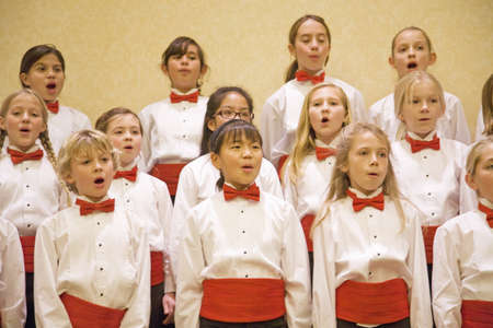 Children choir sing for Christmas in Santa Barbara, CA