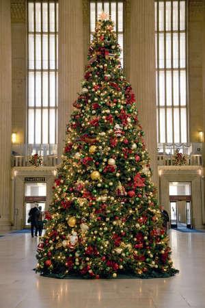 Christmas tree at 30th Street Train Station, Philadelphia, PA., USA Editorial