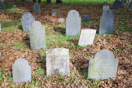 Historic tombstones across from burial spots for John Adams and John Quincy Adams, Quincy, Ma., USA