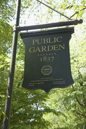 commons: Sign reads Public Garden Founded 1837, Boston Commons, Boston, MA., New England, USA Editorial