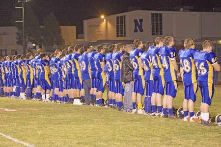 High school football pre-game, Ojai Nordhoff Rangers Football team who defeated Verbum Dei Eagles 21-0 on November 19, 2010, Ojai, CA, USA
