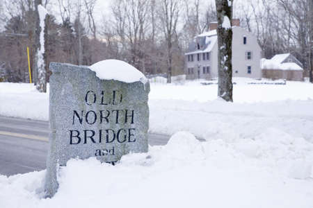 Stone sign for the Old North Bridge, Concord, Ma., New England, USA, the historical site of the Battle of Concord, the first day of battle in the American Revolutionary War