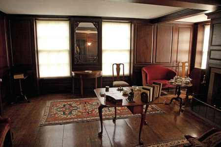 adams: Interior of Peacefield - the home of John and Abigail Adams, Adams National Historical Park, Braintree, Quincy, Ma., USA