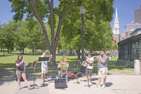 quintet: Brass Quintet performs in Boston Common, Boston, Ma., USA