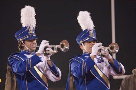 High school marching band trumpet players at halftime, where Ojai Nordhoff Rangers Football team defeats Verbum Dei Eagles 21-0 on November 19, 2010, Ojai, CA, USA Sajtókép