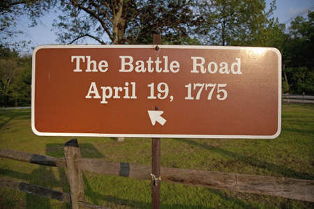 revolutionary war: Sign for The Battle Road for April 19, 1775 in historic ConcordLexington area where Revolutionary War started Editorial
