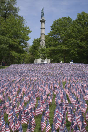 boston common: 20,000 American Flags are displayed for every resident of Massachusetts who died in a war over the past 100 years, Boston Common, Boston, MA, Memorial Day, 2011