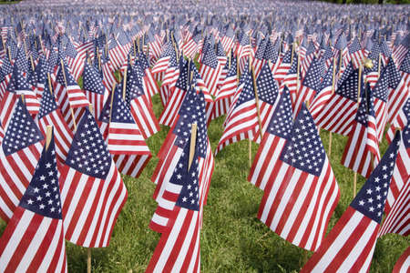 drapeaux am�ricain: 20.000 drapeaux am�ricains sont affich�s pour chaque r�sident du Massachusetts qui est mort dans une guerre au cours des 100 derni�res ann�es, Boston Common, Boston, MA, Memorial Day 2011