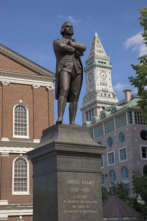 samuel: Statue of Revolutionary Patriot, Samuel Adams, 1722-1803, in front of historic Faneuil Hall, Boston, MA