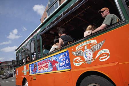 historic sites: Bright Orange Tour Bus drives to historic sites of Boston, MA. Editorial