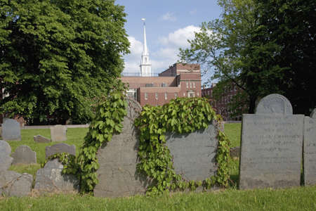 revere: Old Cemetery in front of the  Old North Church which is officially known as Christ Church in the City of Boston, on April 18, 1775, was the site of two lanters that warned Paul Revere the British were coming