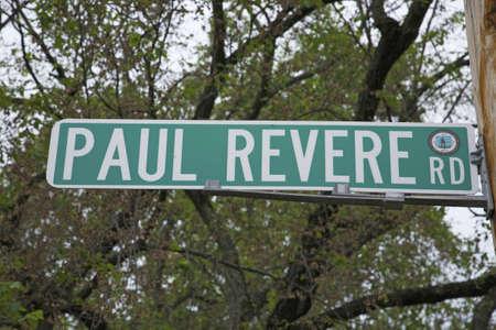 revere: Paul Revere Road sign, outside Lexington MA to represent the Revolutionary War, 1776, MA