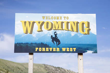 Welcome to Wyoming road sign Editorial